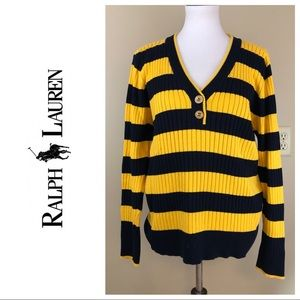 RALPH LAUREN XL YELLOW STRIPED SWEATER